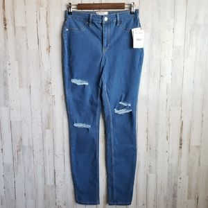 Free People High Rise Washed Denim Jegging NWT